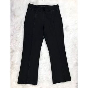 LILLIE RUBIN Black Leather Trimmed Wide Leg Slacks